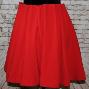 H&M Red Pleated Elastic Waist Band Flare Skirt 4